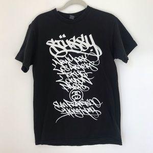 Stussy graphic tee black white size medium